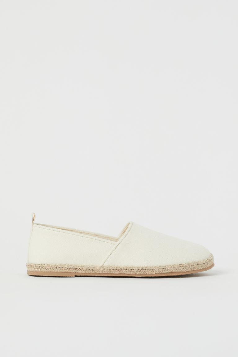 H & M - 棉質帆布草編鞋 - 白色