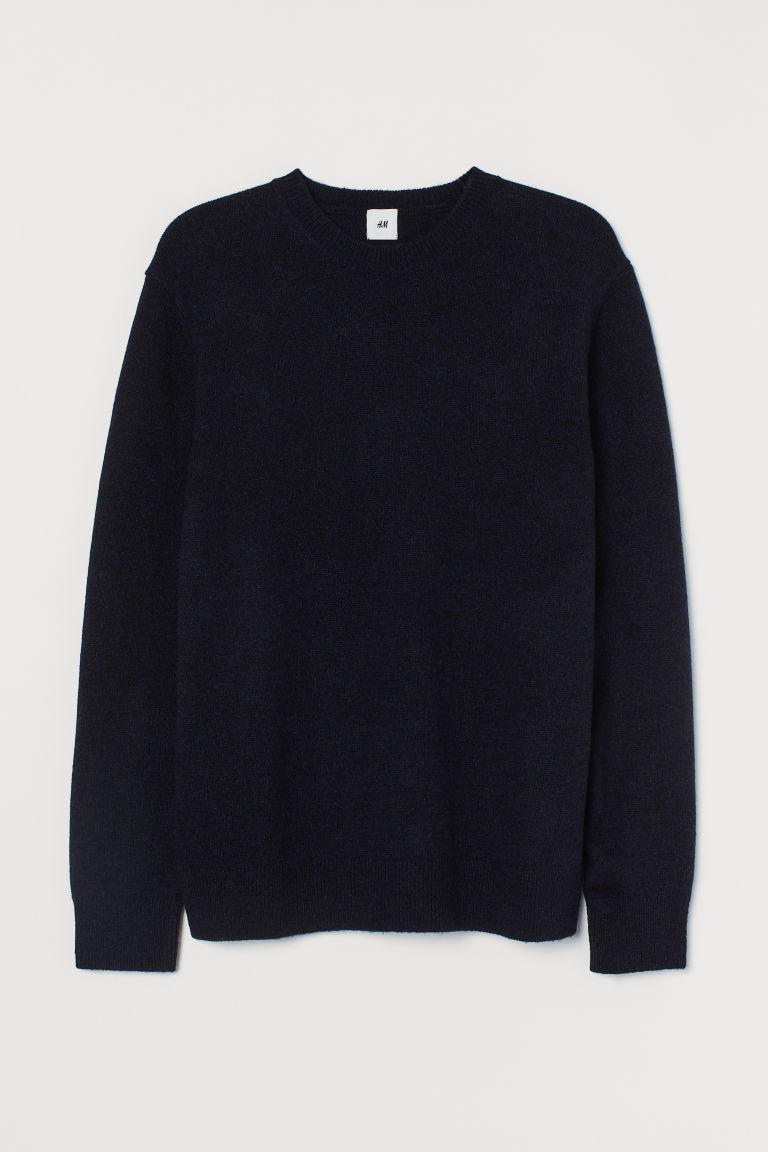 H & M - 小羊毛針織套衫 - 藍色
