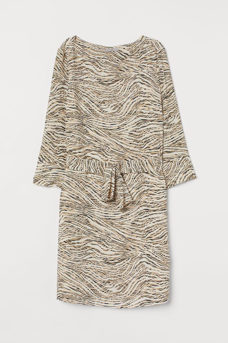 H & M - 綁帶洋裝 - 米黃色
