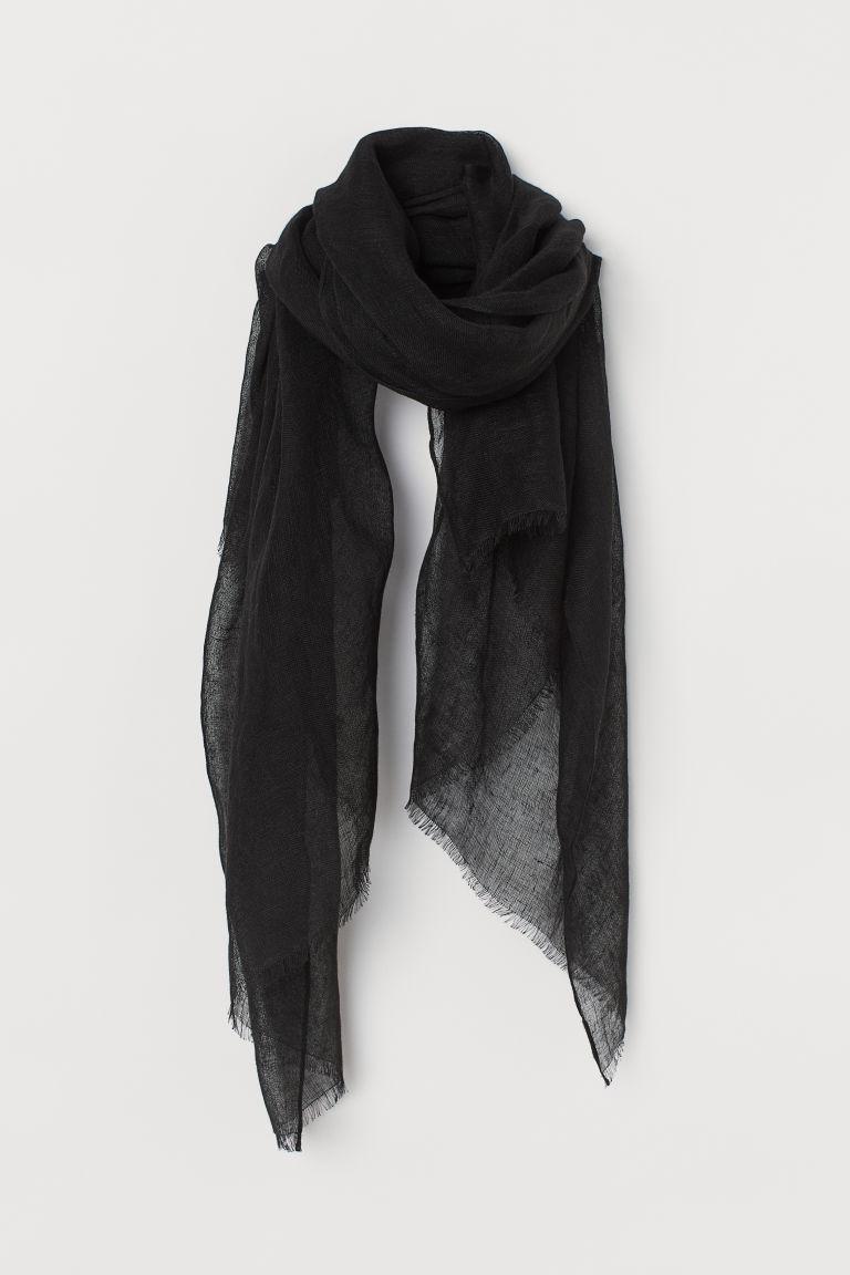 H & M - 亞麻圍巾 - 黑色