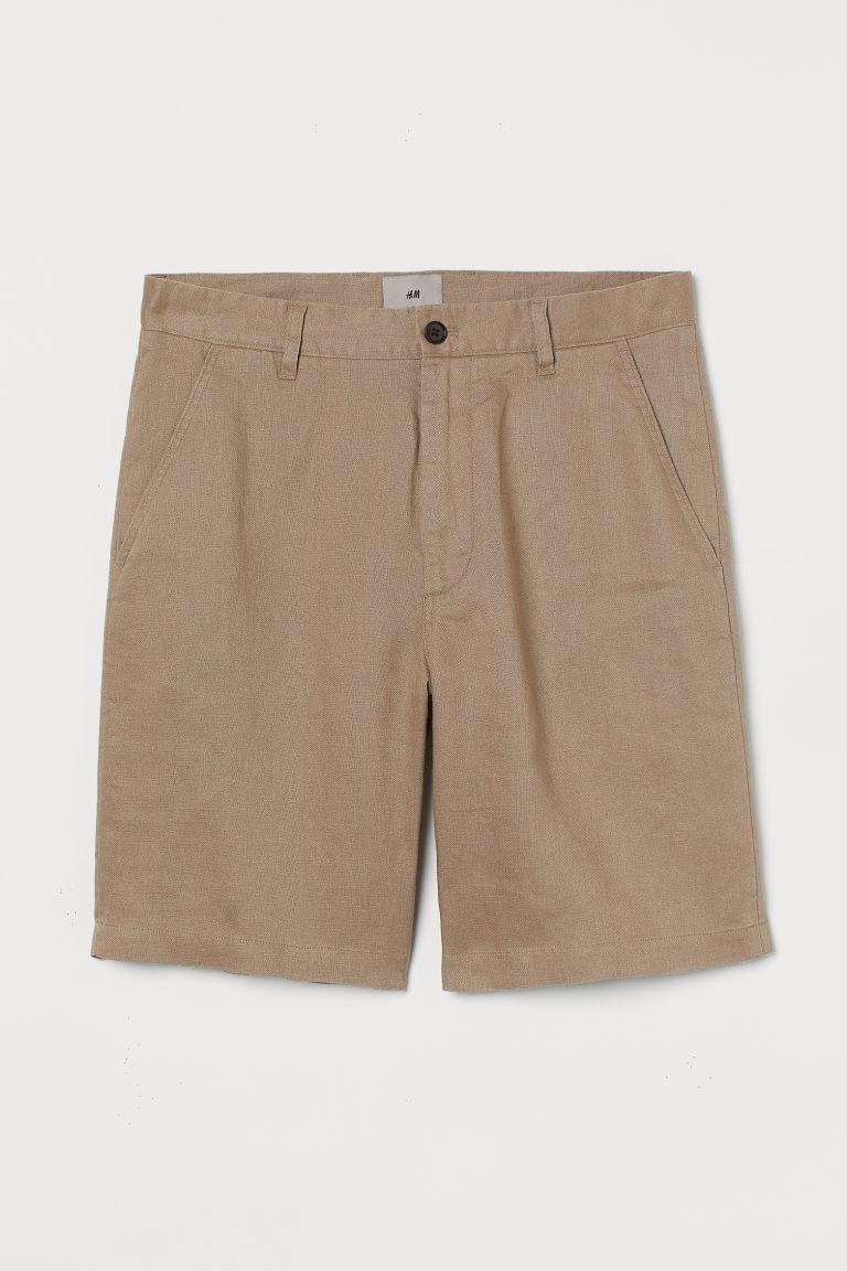 H & M - 直筒亞麻短褲 - 米黃色