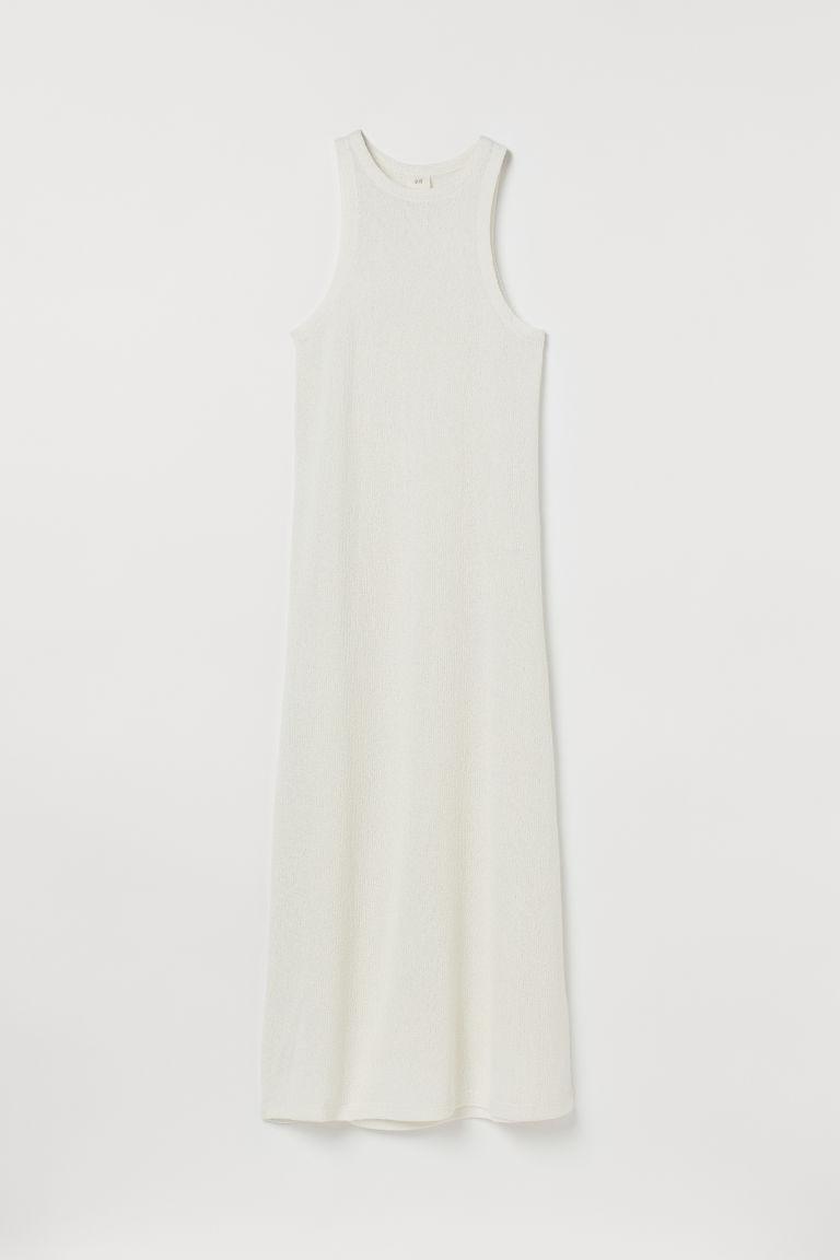 H & M - 針織洋裝 - 白色
