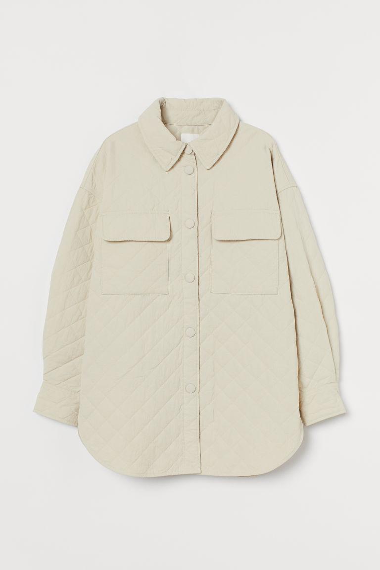 H & M - 車棉襯衫式外套 - 米黃色