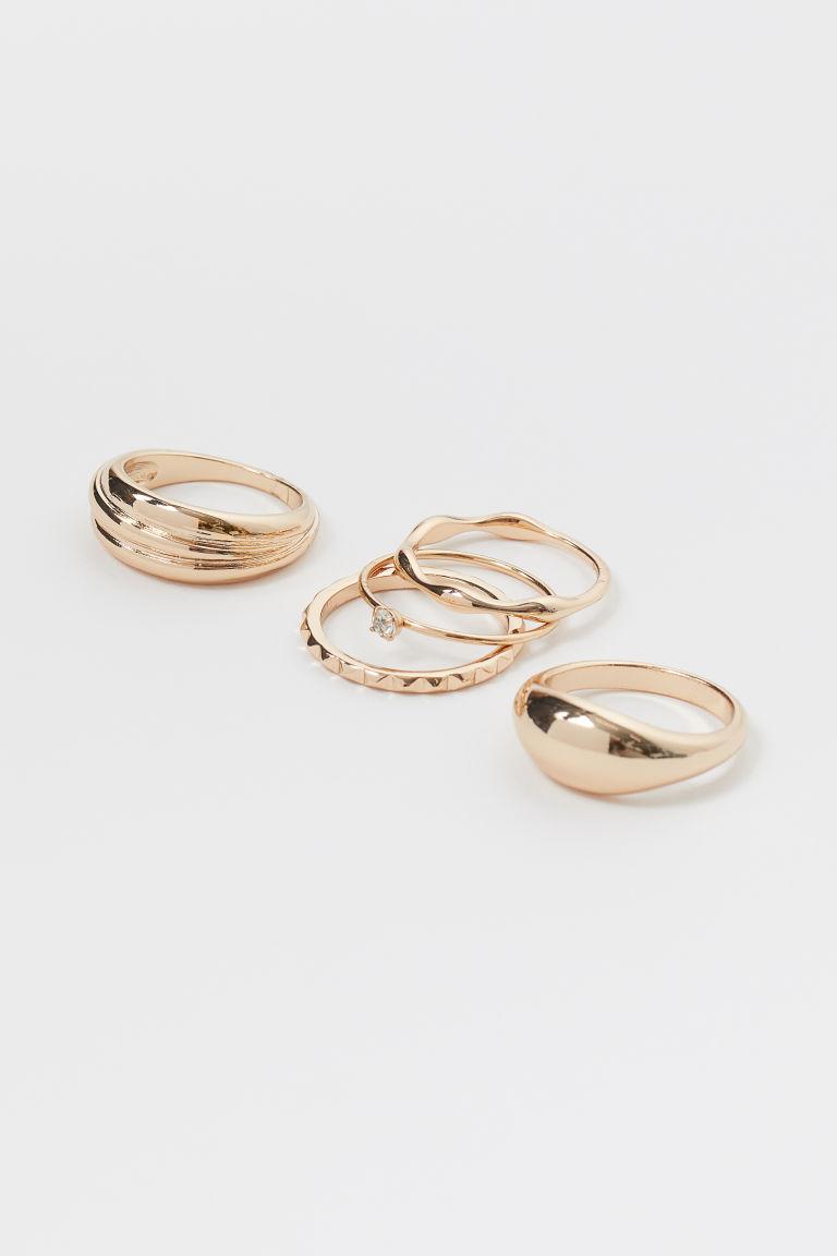H & M - 5枚入戒指 - 金色