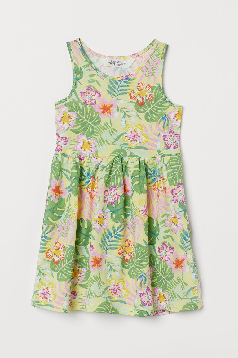 H & M - 印花平紋洋裝 - 黃色