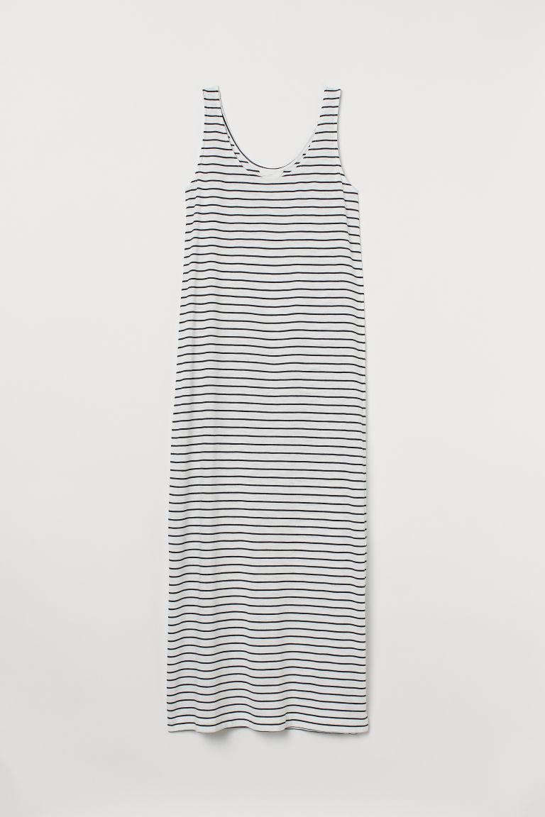 H & M - 棉質混紡平紋洋裝 - 白色