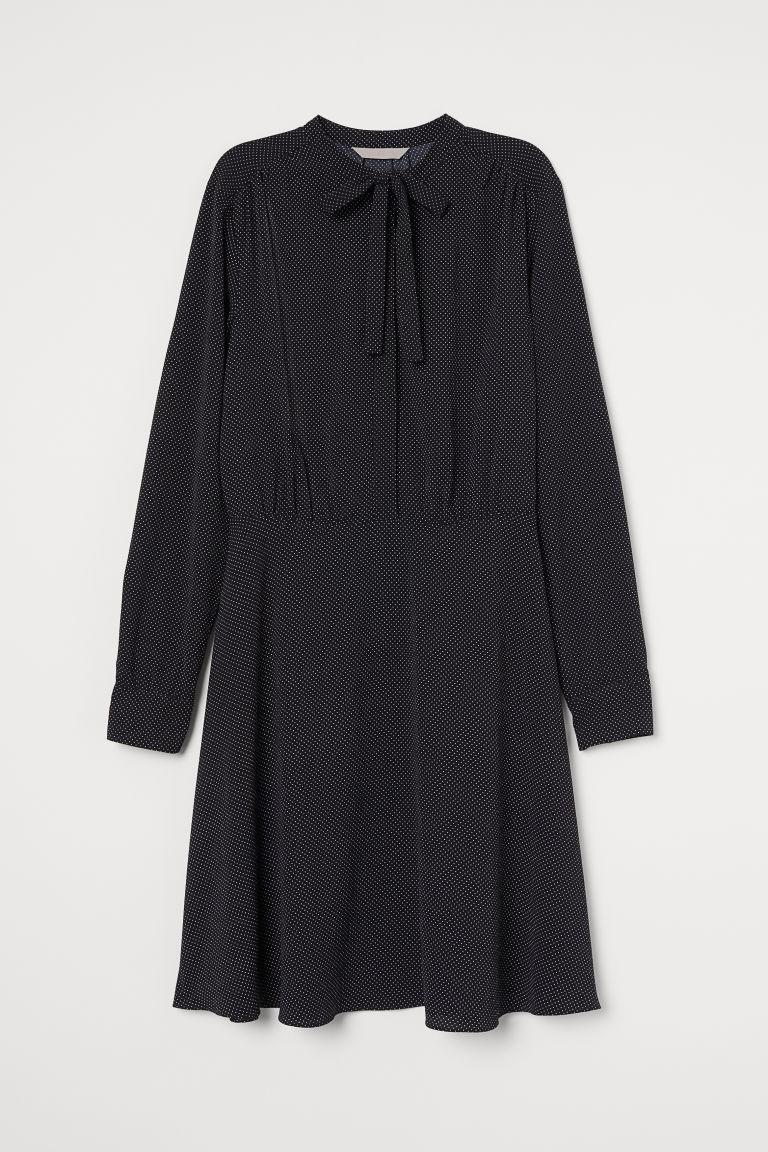 H & M - 綁帶縐紗洋裝 - 黑色