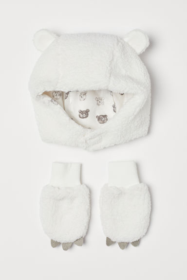 d340bd0589e52 H   M - Pile hat and mittens - White