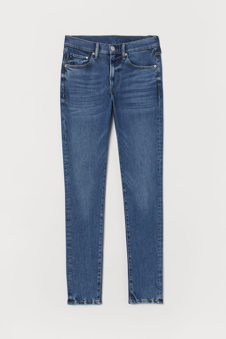 H & M - 窄管舒適牛仔褲 - 藍色