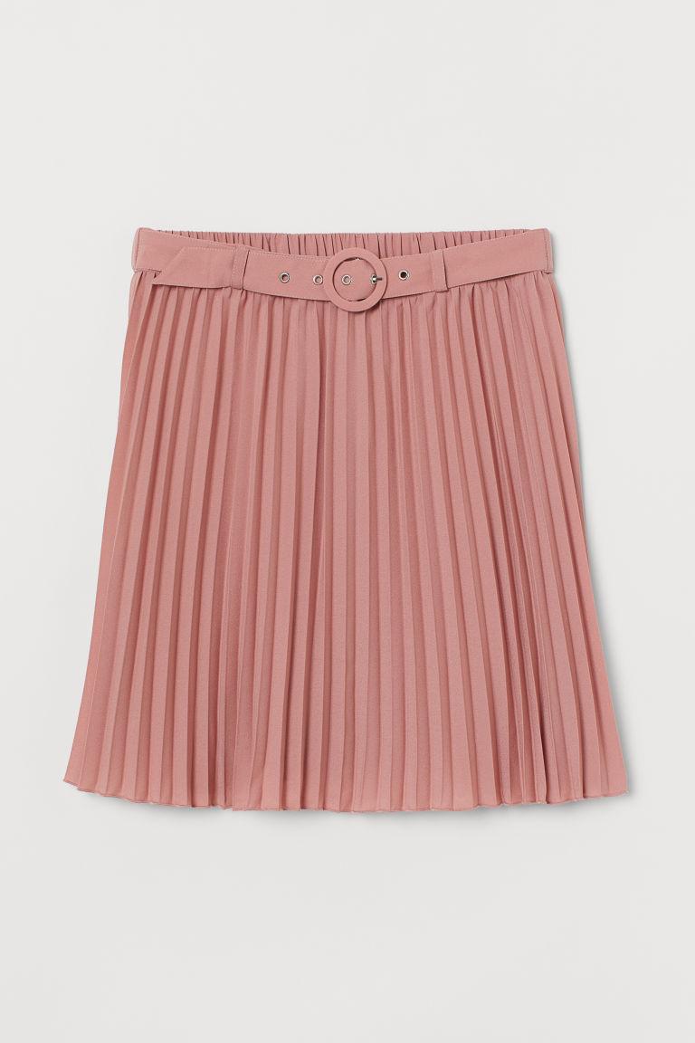 H & M - 配腰帶百褶裙 - 粉紅色
