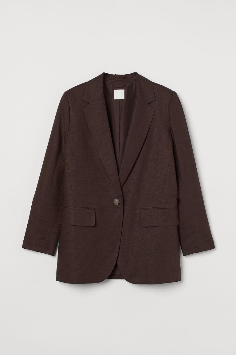 H & M - 加大碼亞麻混紡外套 - 褐色