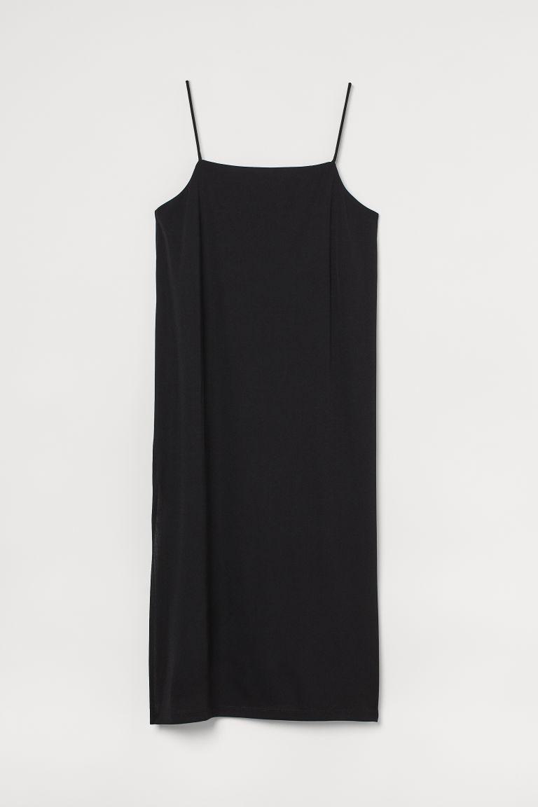 H & M - H & M+ 開衩洋裝 - 黑色