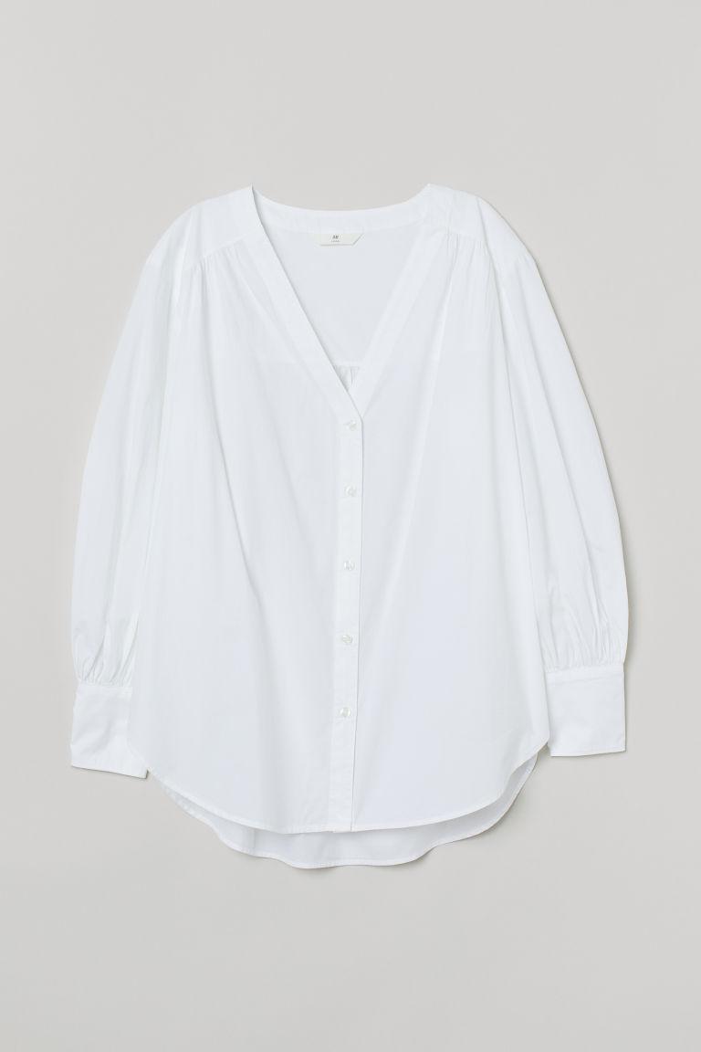 H & M - 燈籠袖棉質女衫 - 白色