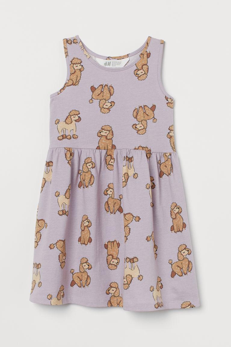 H & M - 印花平紋洋裝 - 紫色