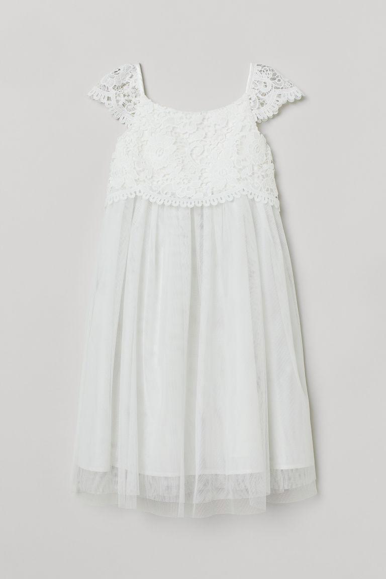 H & M - 蕾絲薄紗洋裝 - 白色