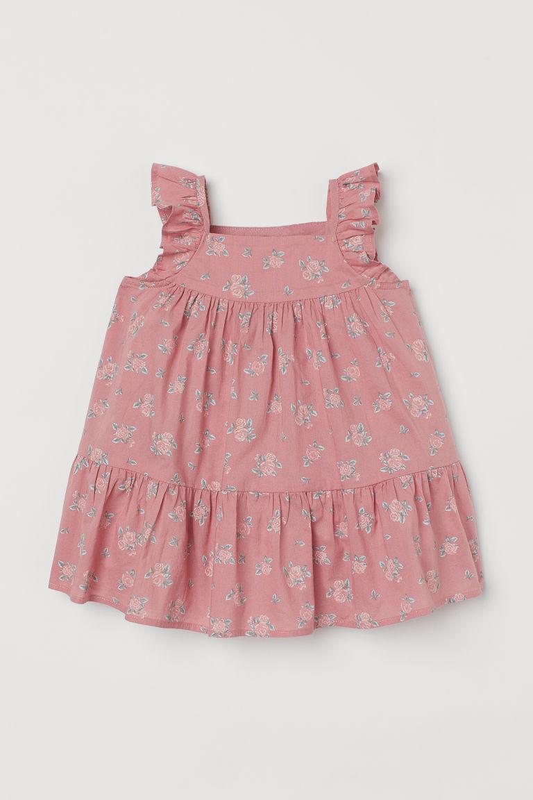H & M - 傘狀棉質洋裝 - 粉紅色