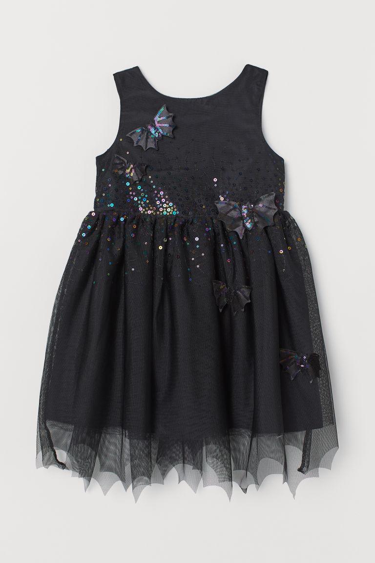 H & M - 貼花薄紗洋裝 - 黑色