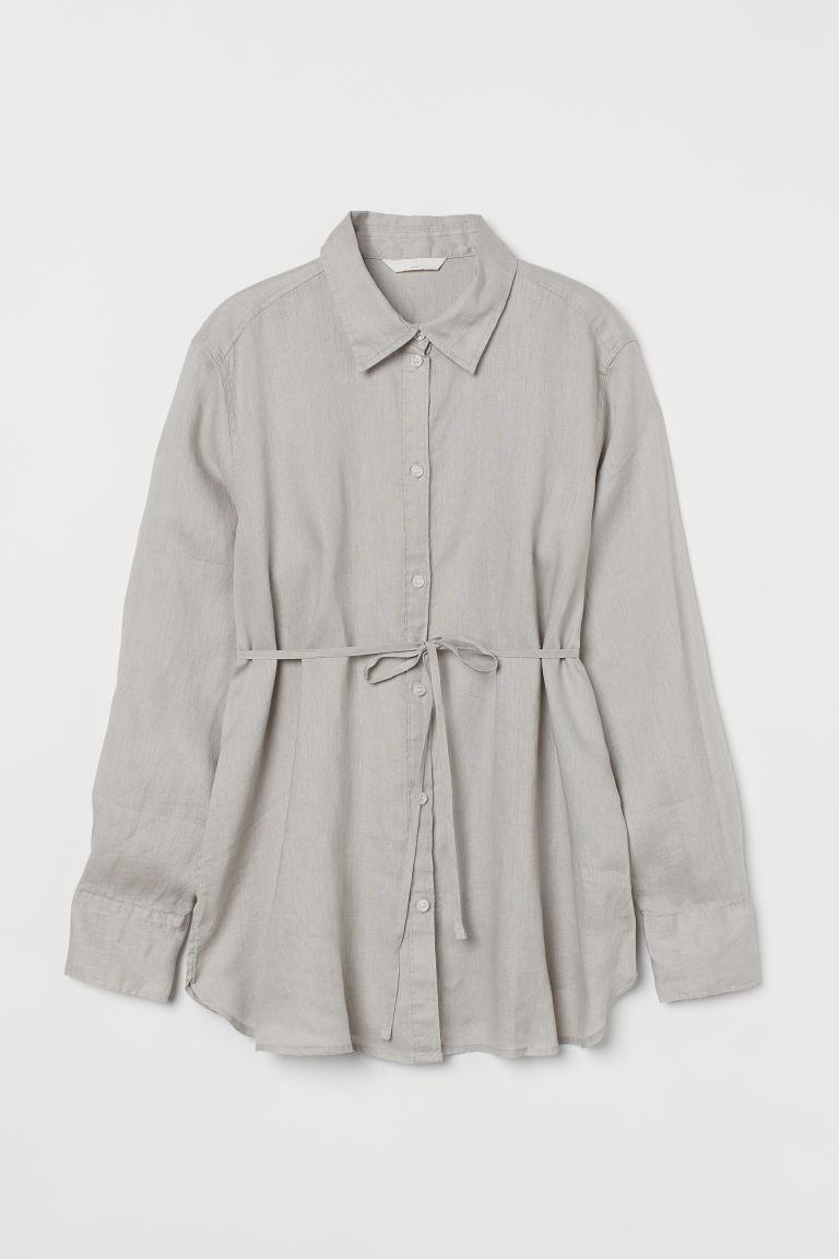 H & M - MAMA 亞麻襯衫 - 褐色