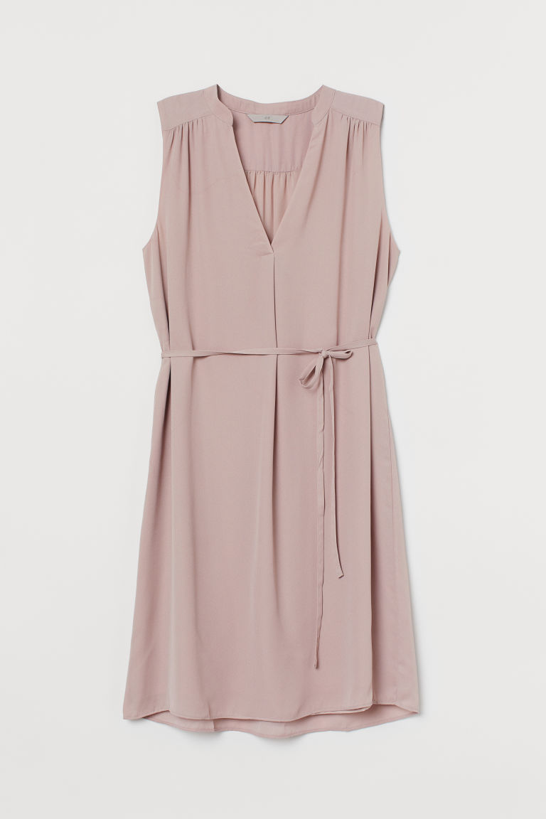 H & M - 綁帶洋裝 - 粉紅色