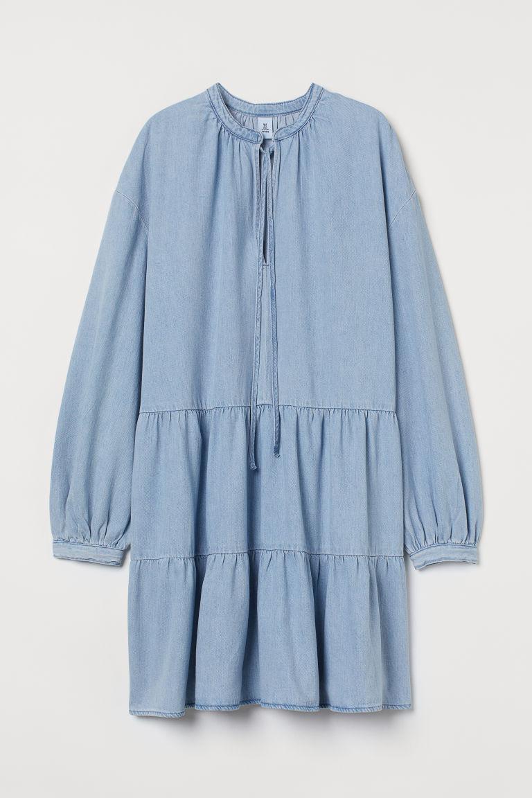 H & M - 棉質斜紋洋裝 - 藍色
