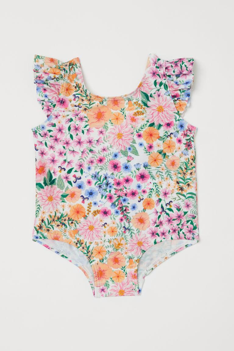 H & M - 荷葉邊花朵連身泳裝 - 白色