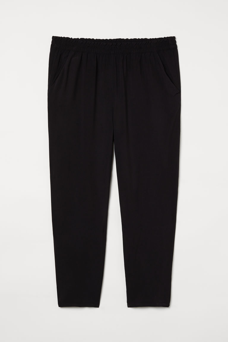H & M - H & M+ 鬆緊式長褲 - 黑色