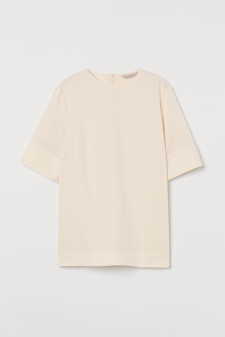 H & M - 短袖斜紋女衫 - 米黃色