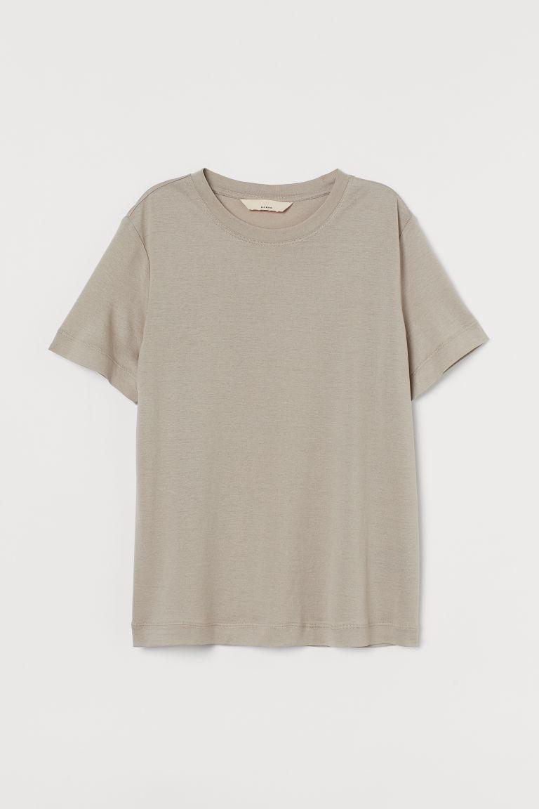 H & M - 真絲混紡T恤 - 米黃色