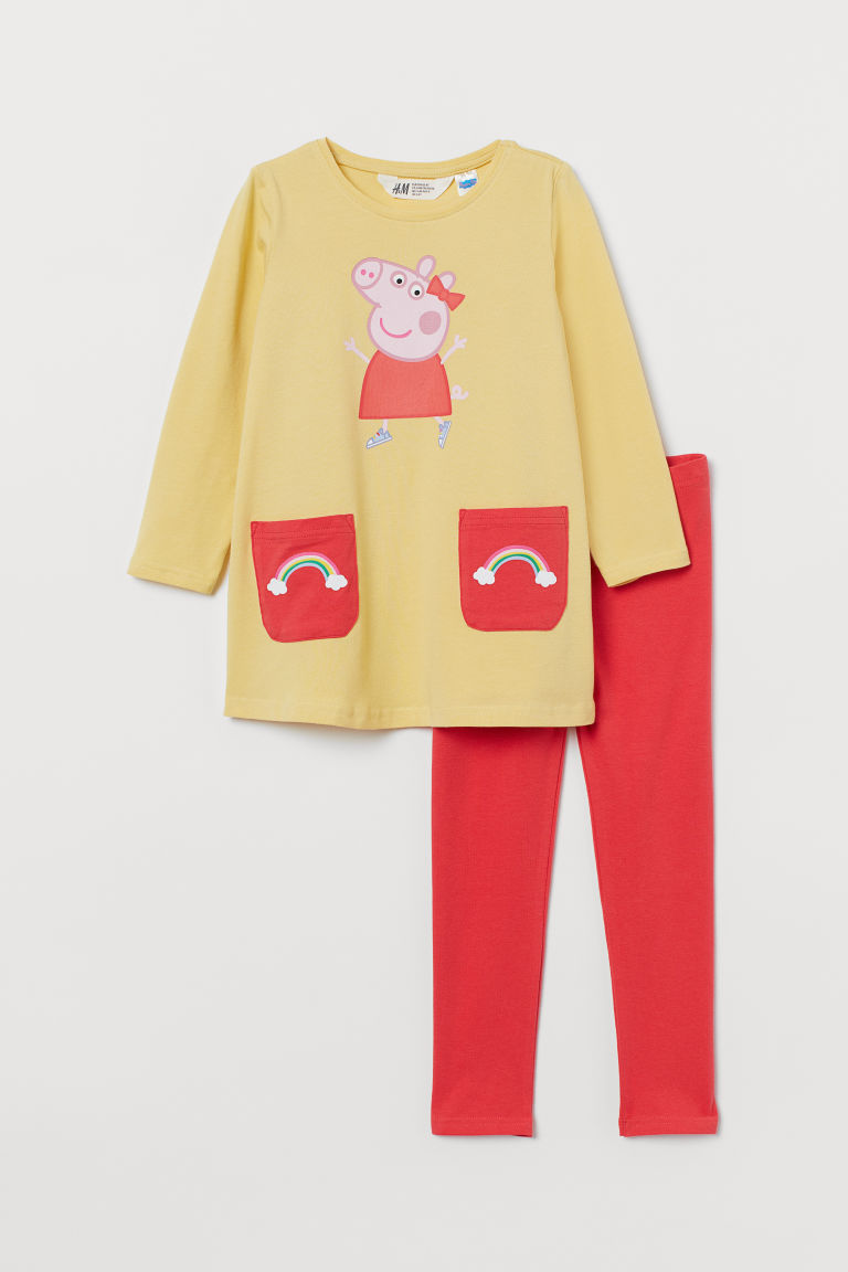 H & M - 2件組圖案套裝 - 黃色