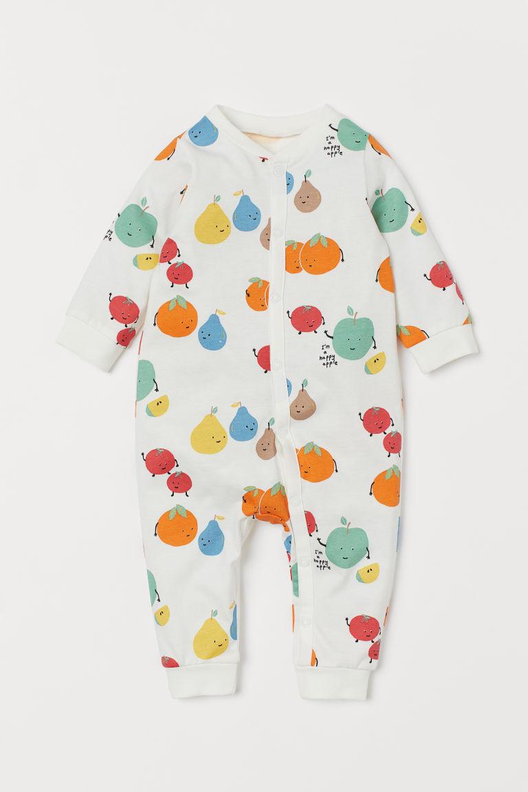 H & M - 棉質平紋睡衣套裝 - 白色
