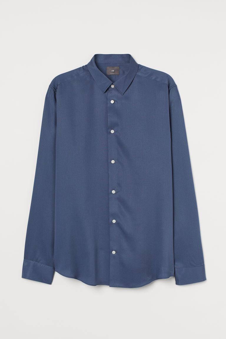 H & M - 標準剪裁萊賽爾襯衫 - 藍色