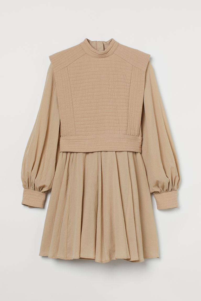 H & M - 車棉洋裝 - 米黃色
