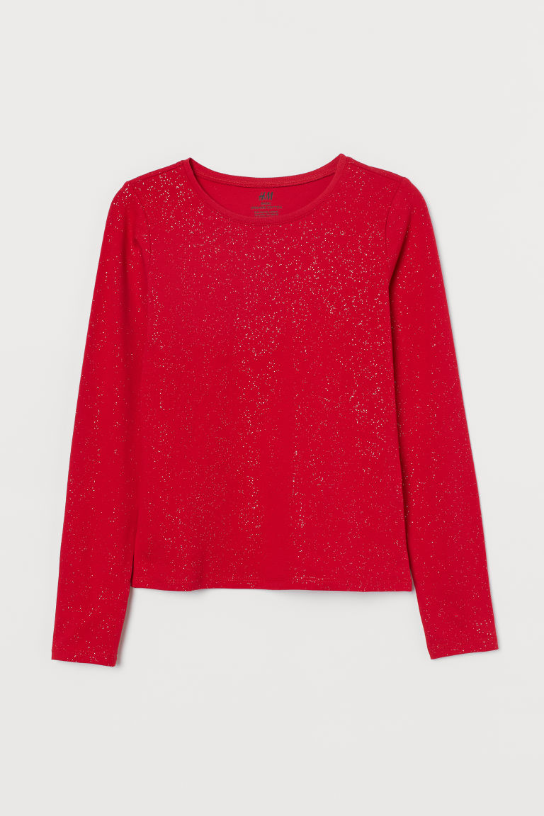 H & M - 金蔥棉質上衣 - 紅色