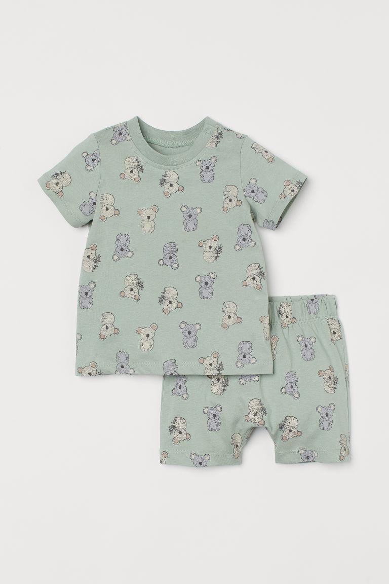 H & M - 棉質睡衣套裝 - 綠色