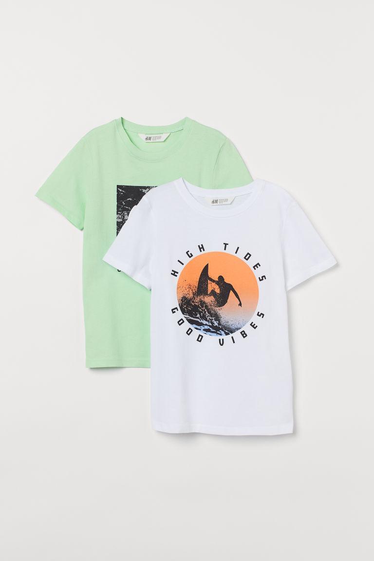 H & M - 2件入圖案T恤 - 綠色