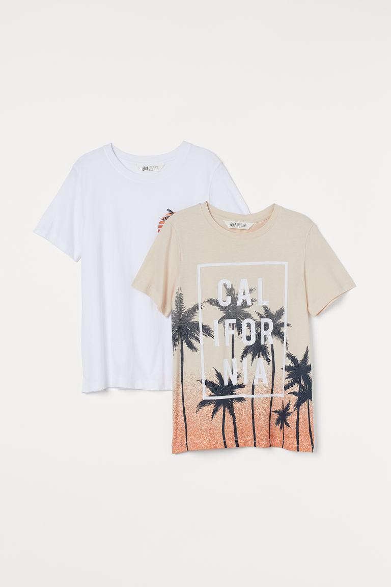 H & M - 2件入圖案T恤 - 米黃色