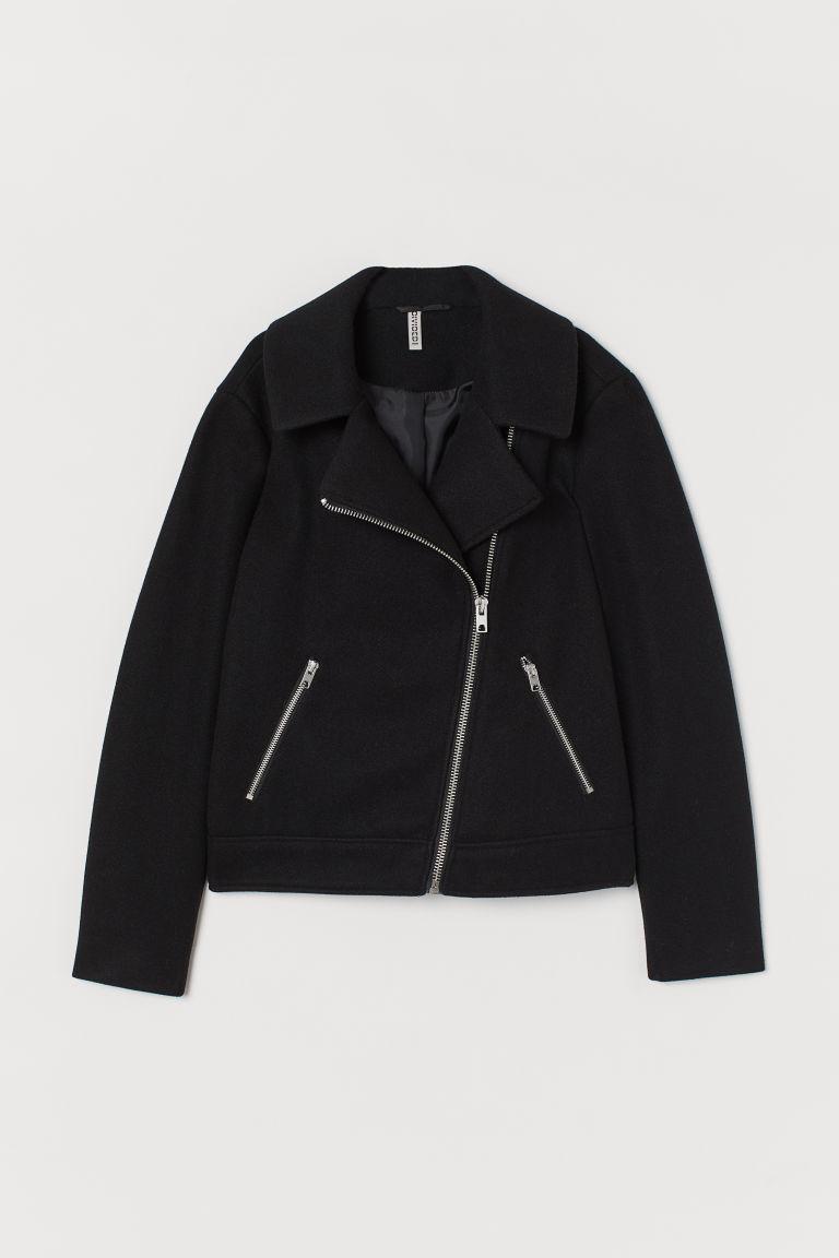 H & M - 刷毛騎士外套 - 黑色