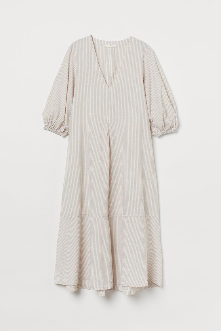 H & M - 寬鬆棉質洋裝 - 米黃色