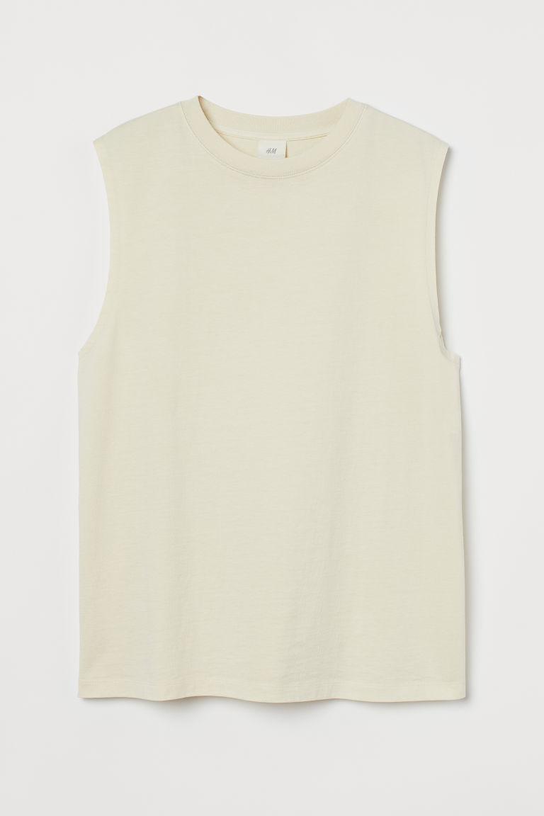 H & M - 棉質無袖上衣 - 黃色