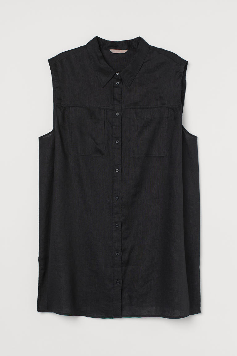 H & M - H & M+ 無袖亞麻襯衫 - 黑色