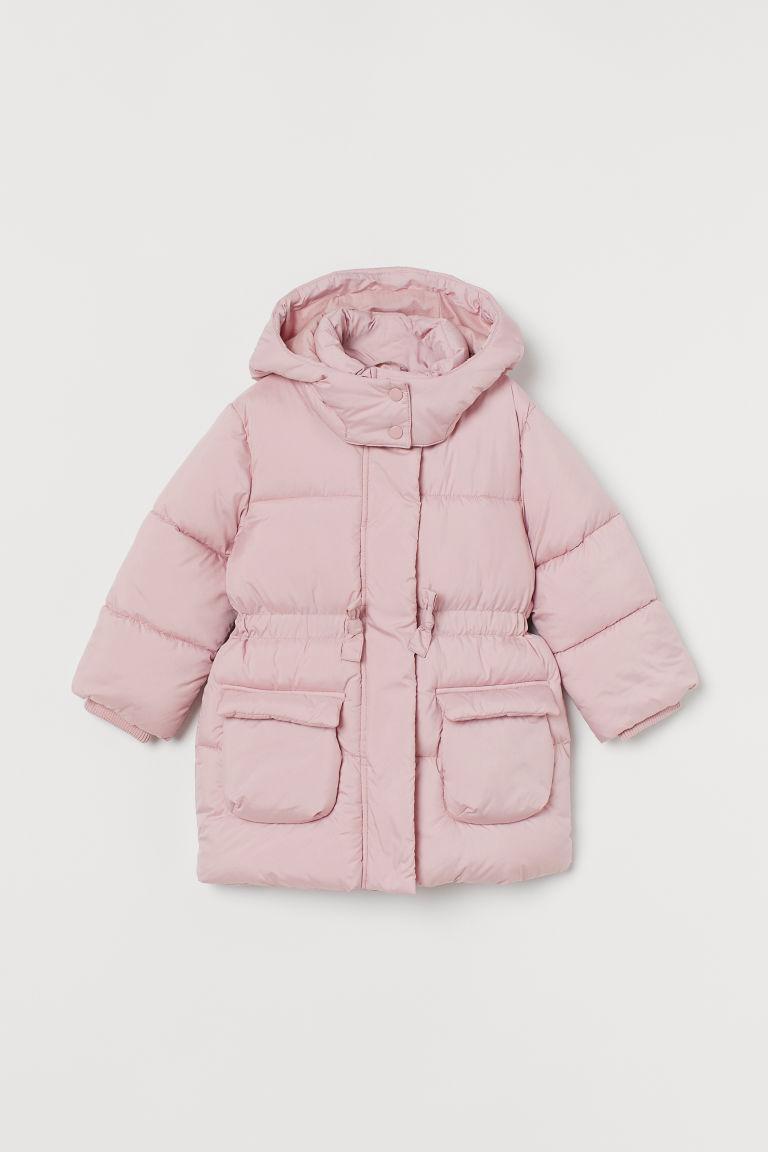 H & M - 鋪棉連帽大衣 - 粉紅色