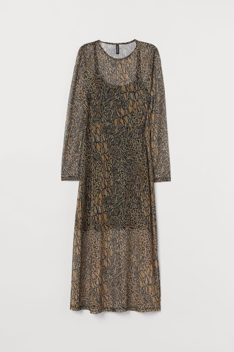 H & M - 印花網紗洋裝 - 米黃色