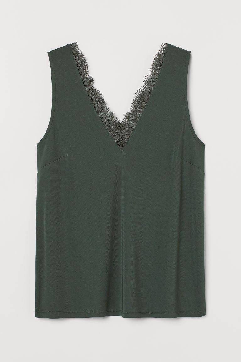 H & M - 蕾絲裝飾無袖上衣 - 綠色