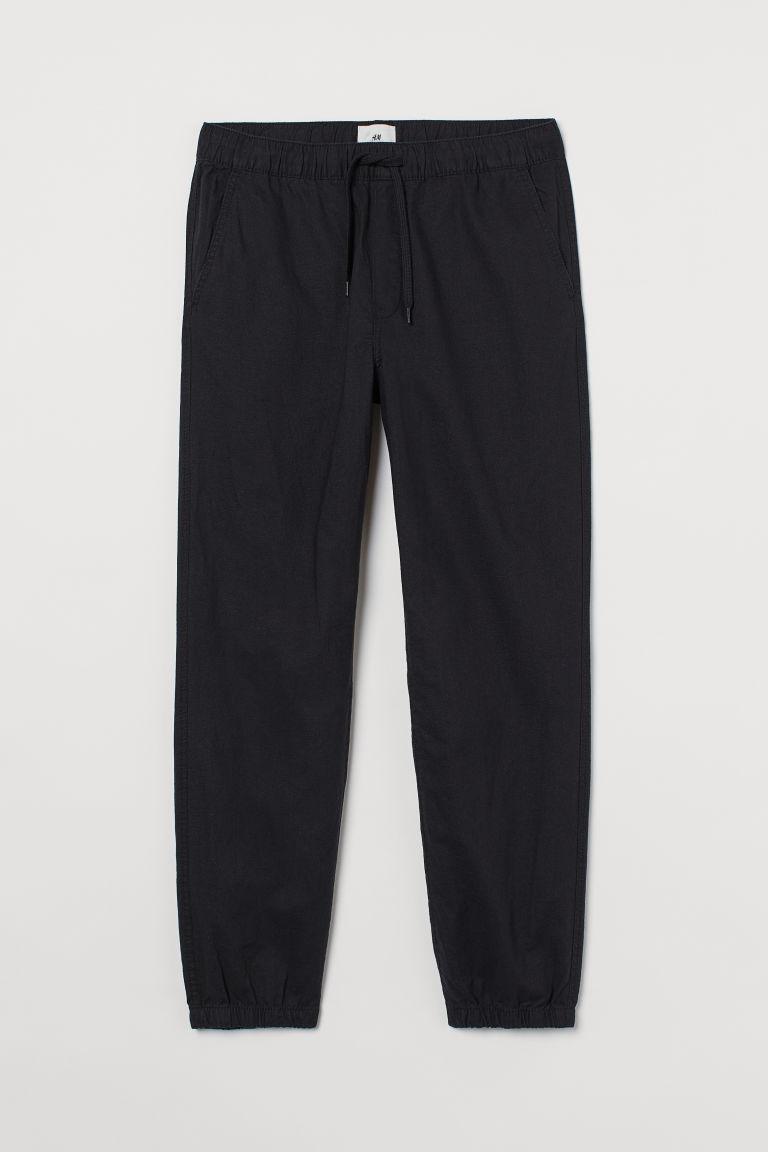 H & M - 合身亞麻混紡慢跑褲 - 黑色