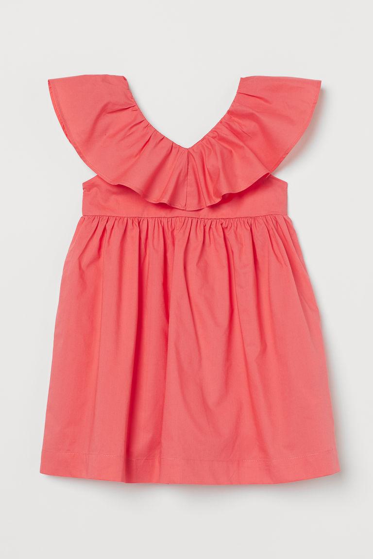 H & M - 荷葉邊洋裝 - 紅色