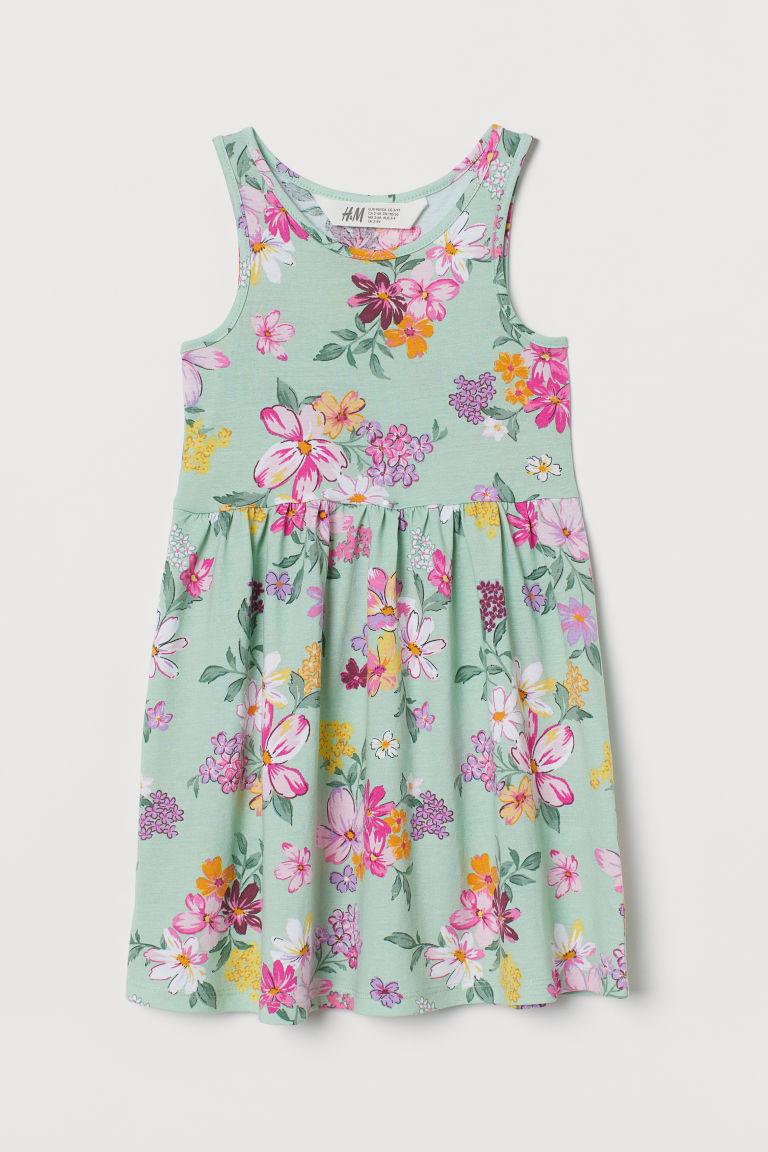 H & M - 印花平紋洋裝 - 綠色
