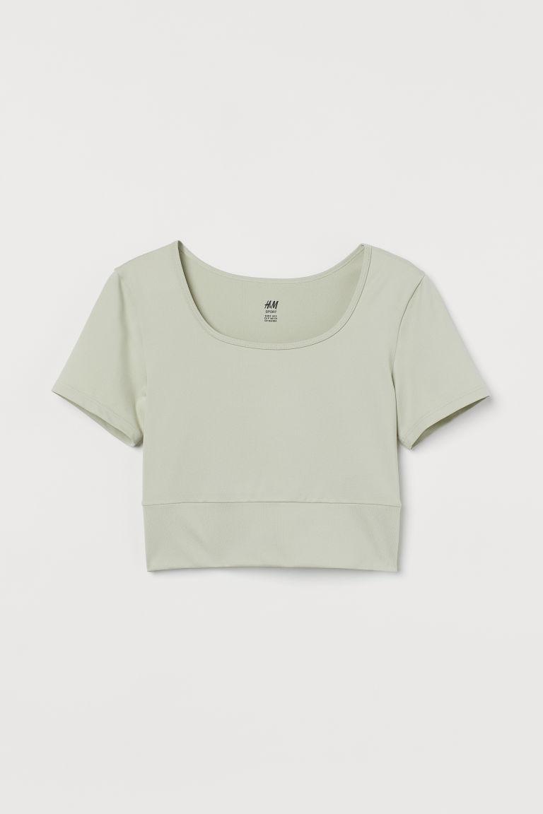 H & M - 短版運動上衣 - 綠色
