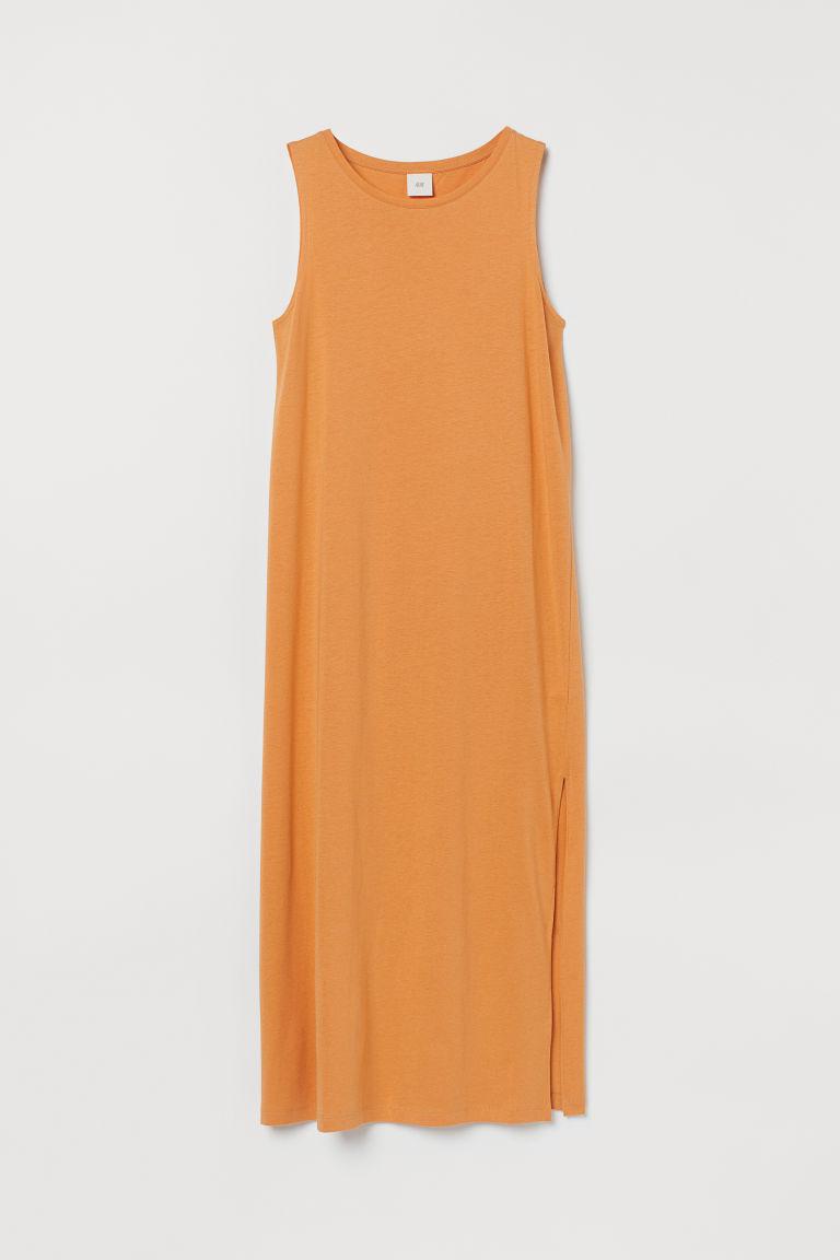 H & M - 開衩平紋洋裝 - 橙色