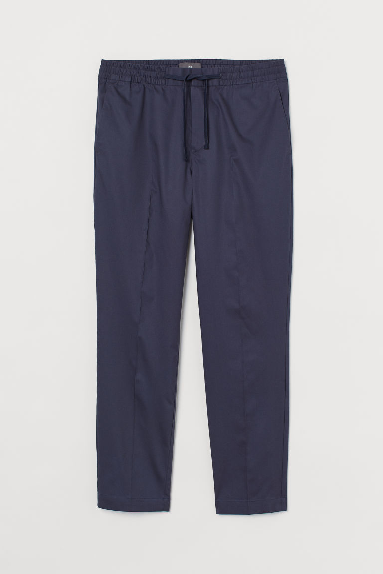 H & M - 貼身九分慢跑褲 - 藍色