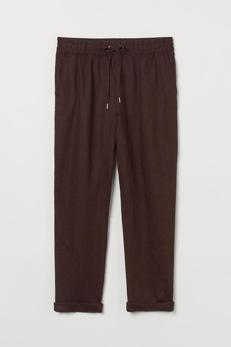 H & M - 亞麻慢跑褲 - 褐色